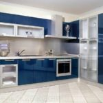 Синяя угловая кухня эмаль глянец