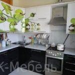 Черно-белая кухня с  зеленым рисунком