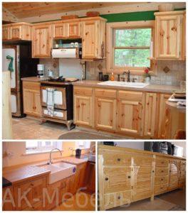 Дизайн кухни из массива дерева сосна