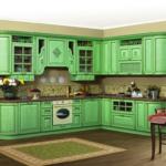 Ярко зеленые кухни