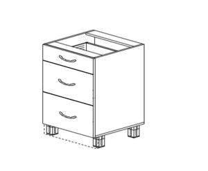 Напольный 2 ящика широких 1 узкий
