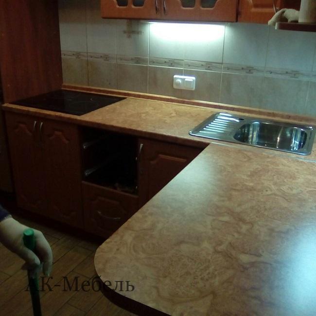 замена столешницы для кухни из дсп с установкой