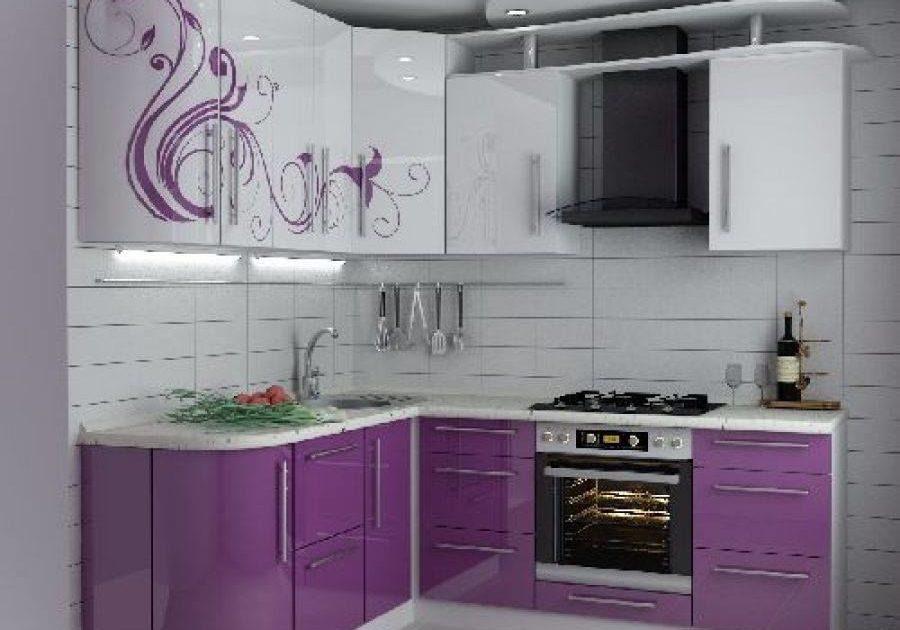 Бело-фиолетовая кухня с узором на фасаде, рисунок