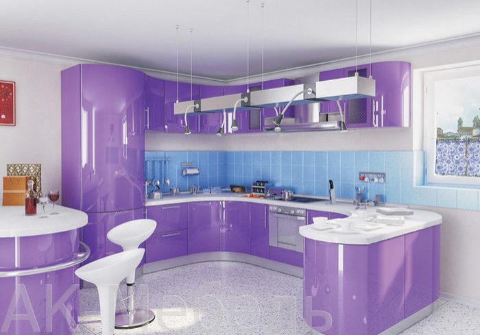 Фиолетовая кухня с необычным дизайном