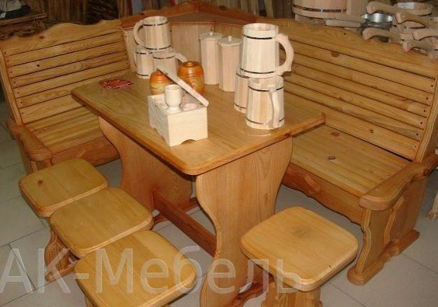 Набор деревянной мебели для бани и сауны