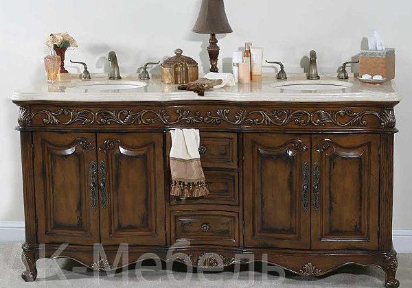Дорогая мебель из массива дерева для ванной