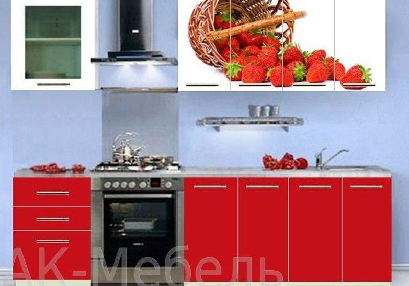 Недорогая красно-белая кухня с рисунком, прямая