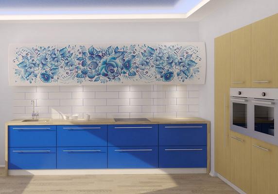 Бело-синяя кухня с рисунком, прямая