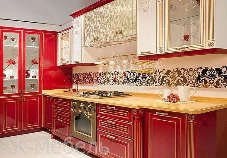 Кухня мдф красно-белая