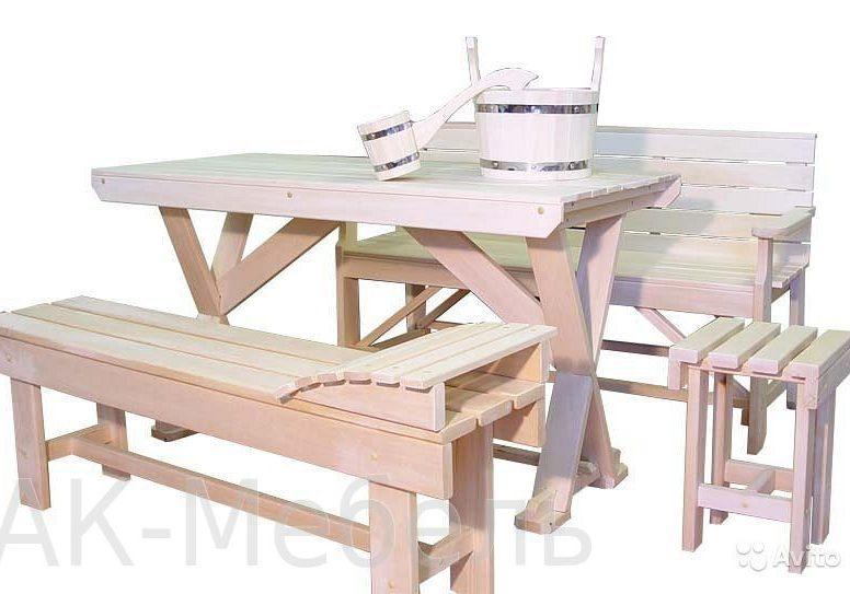 Недорогой набор деревянной мебели для бани и сауны