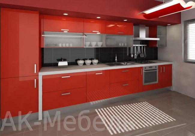 Красная кухня морковного цвета