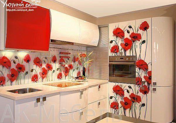 Кухня с рисунком красные маки , угловая, красно-белая