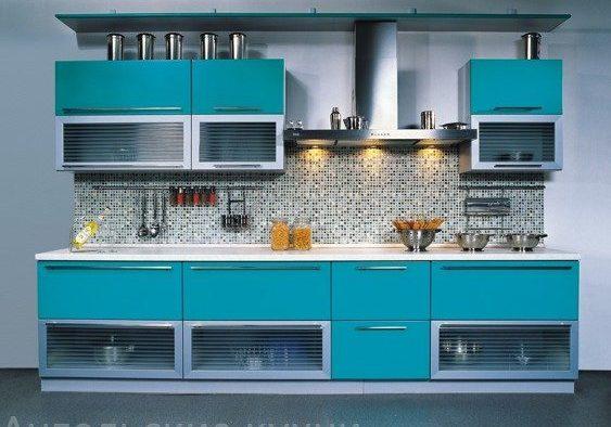 Матовая синяя кухня, прямая, цвет морская волна