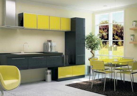 Черно желтая кухня, с необычно красивым дизайном