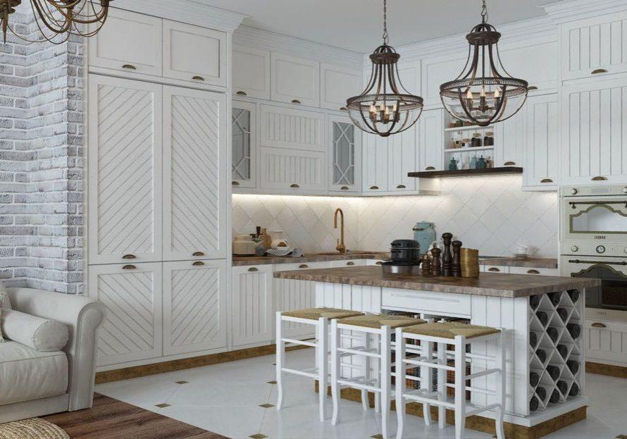 Белая кухня прованс с необычными фасадами