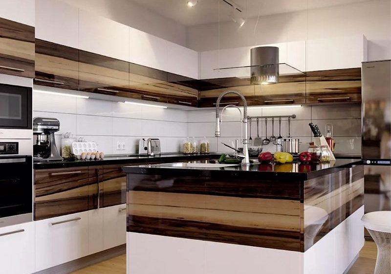 Белая кухня с деревом, МДФ шпон, глянец,с островом, угловая
