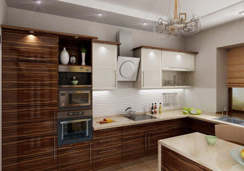 Белая кухня с деревом под окно, глянец