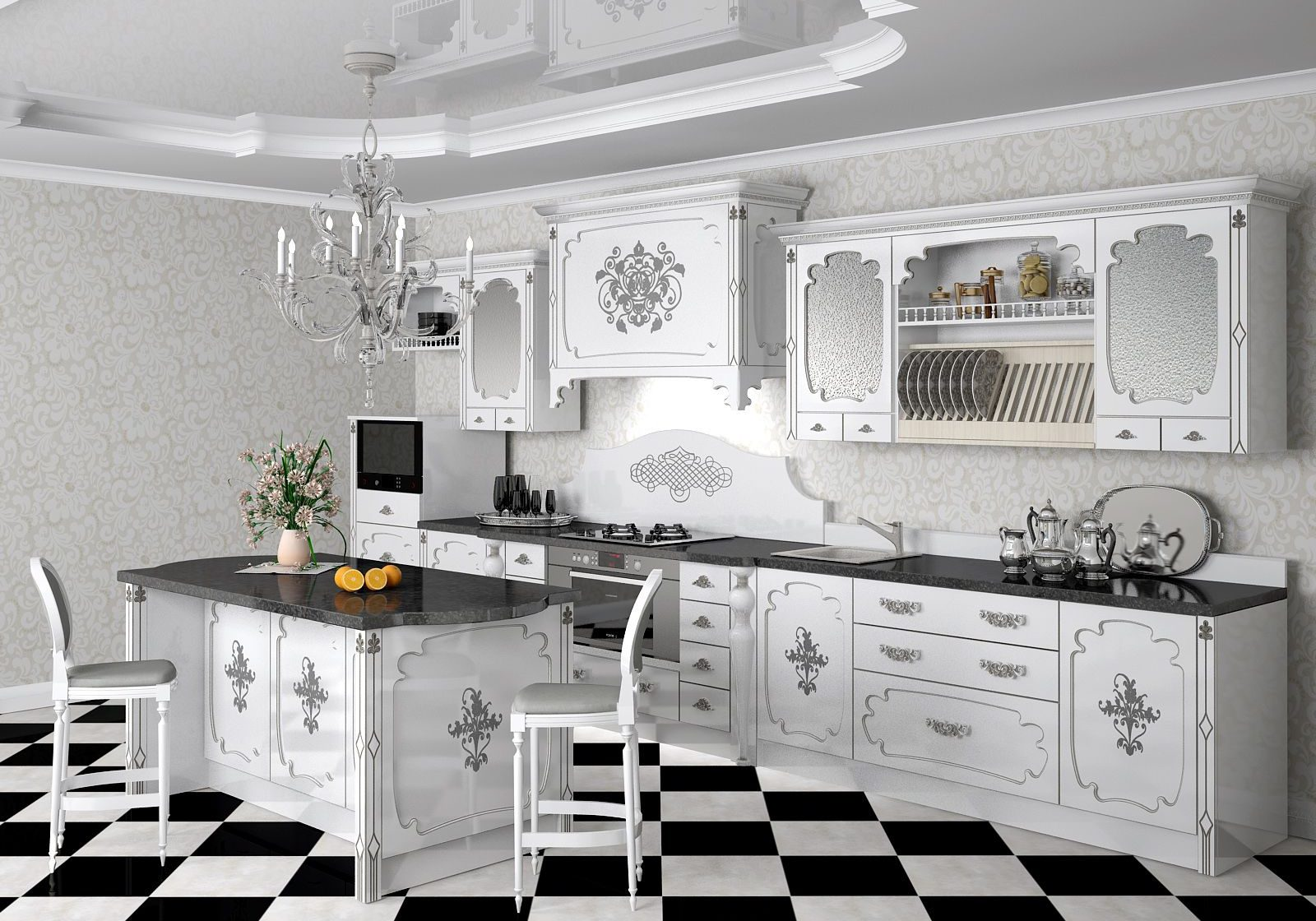 Белая кухня с рисунком, классика