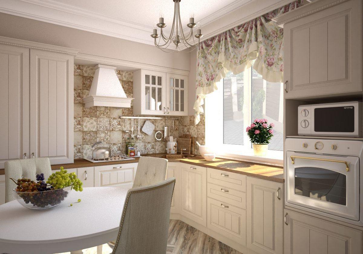 Белая кухня в стиле прованс, под окно, угловая