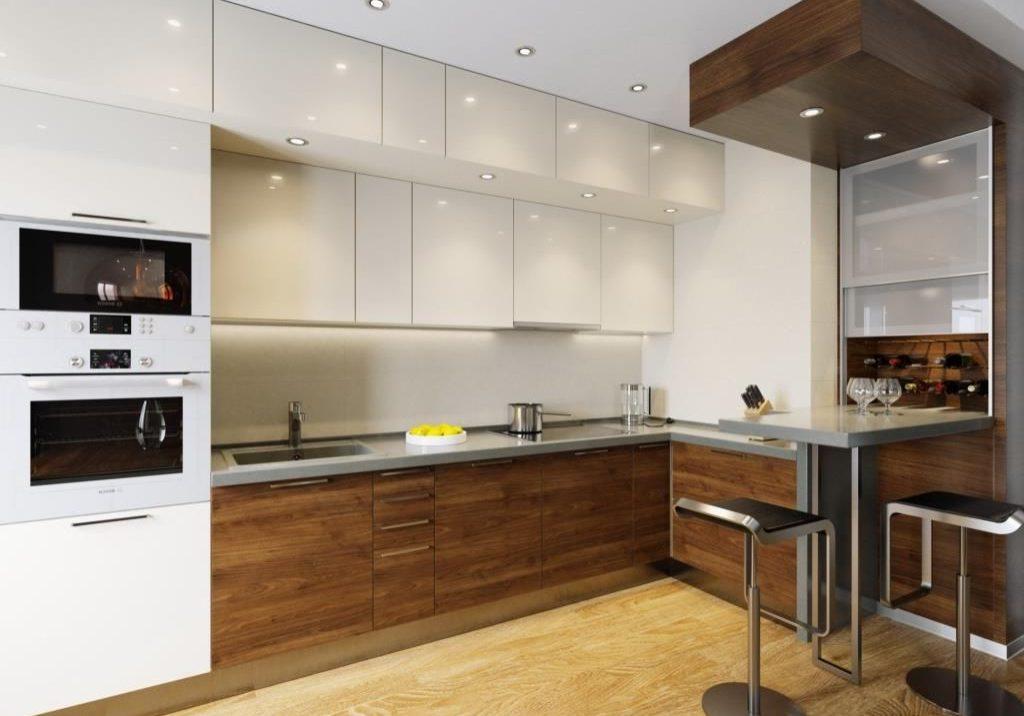 Белая угловая кухня с деревом, верх белый глянец, низ МДФ шпон матовый