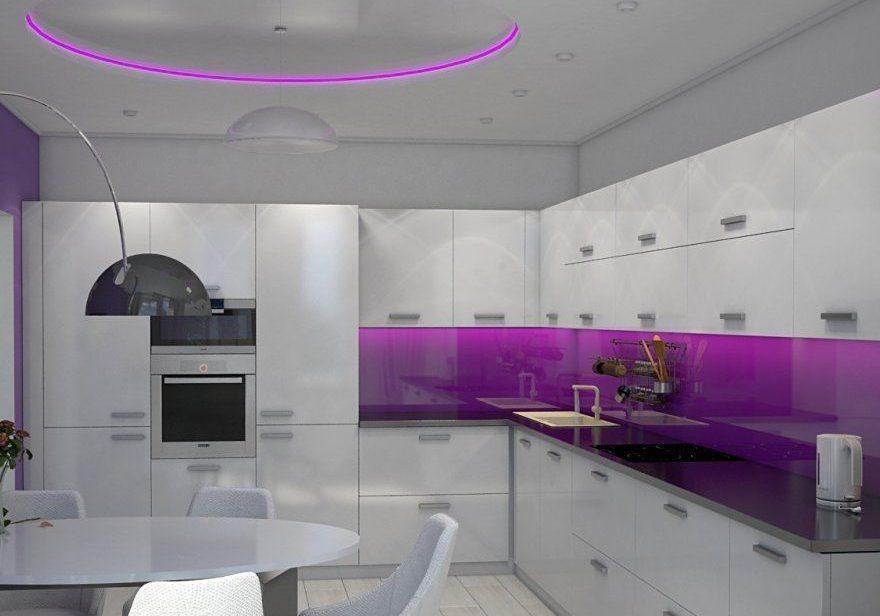 бело-фиолетовая кухня большая угловая МДФ глянец