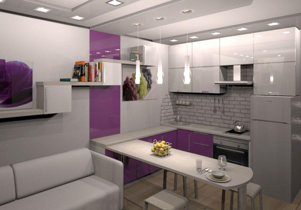бело-фиолетовая кухня п-образная с барной стойкой