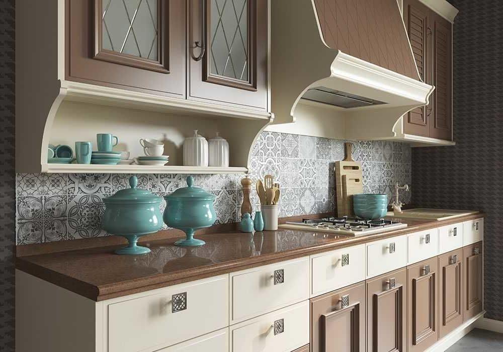 Бело-коричневая кухня прованс, МДФ, прямая