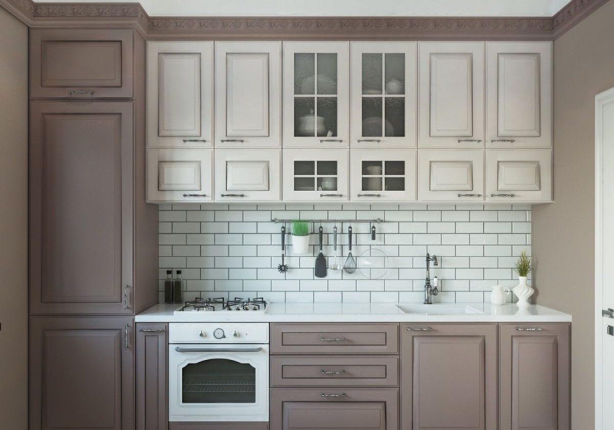 Бело-коричневя прямая кухня, маленькая, модерн, матовая