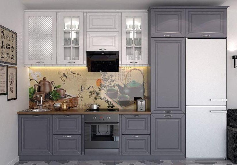 Бело-серая матовая кухня в стиле модерн