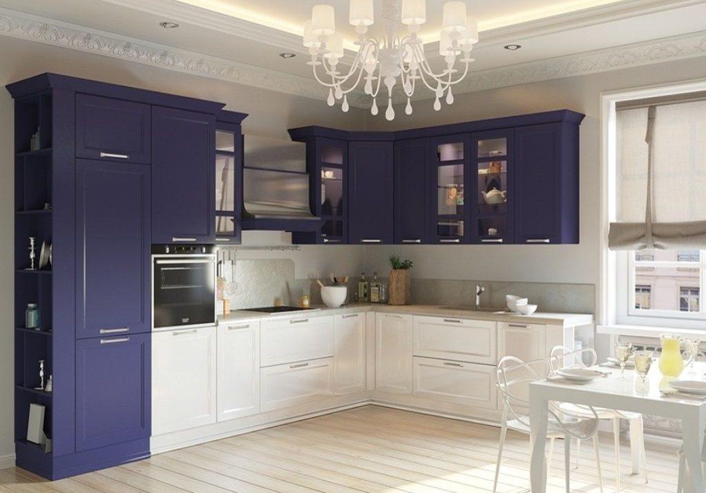 Бело-синяя угловая кухня модерн МДФ