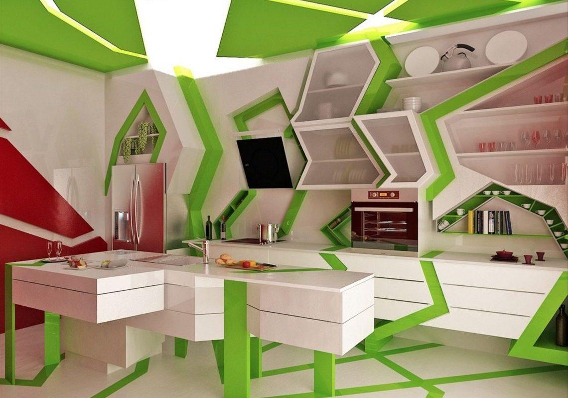 Бело зеленая кухня с островом, МДФ эмаль, хай тек