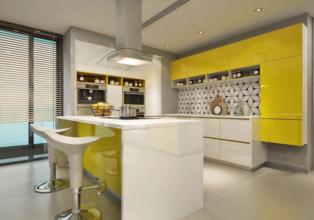 Бело-желтая кухня глянец с островом