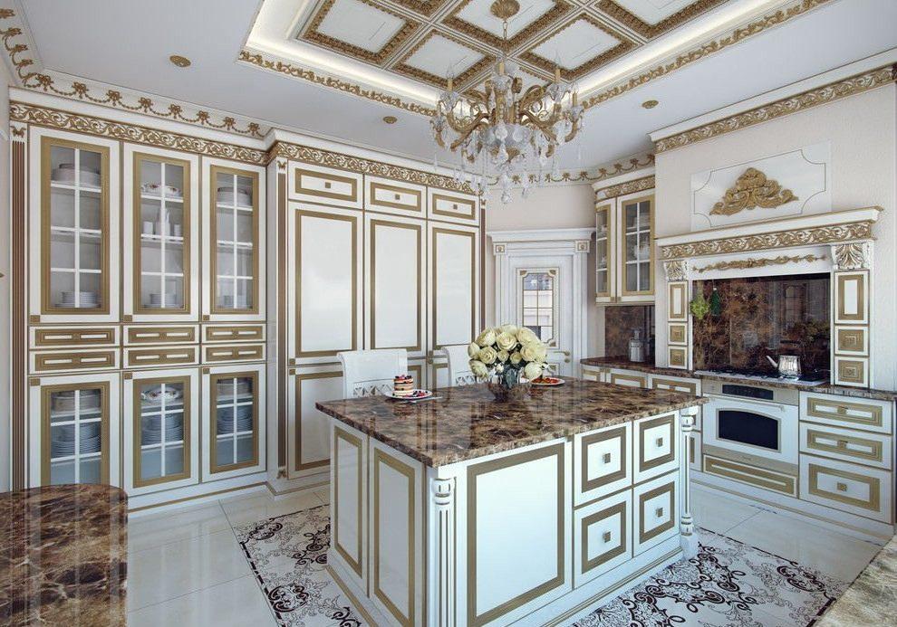 Белые кухни барокко