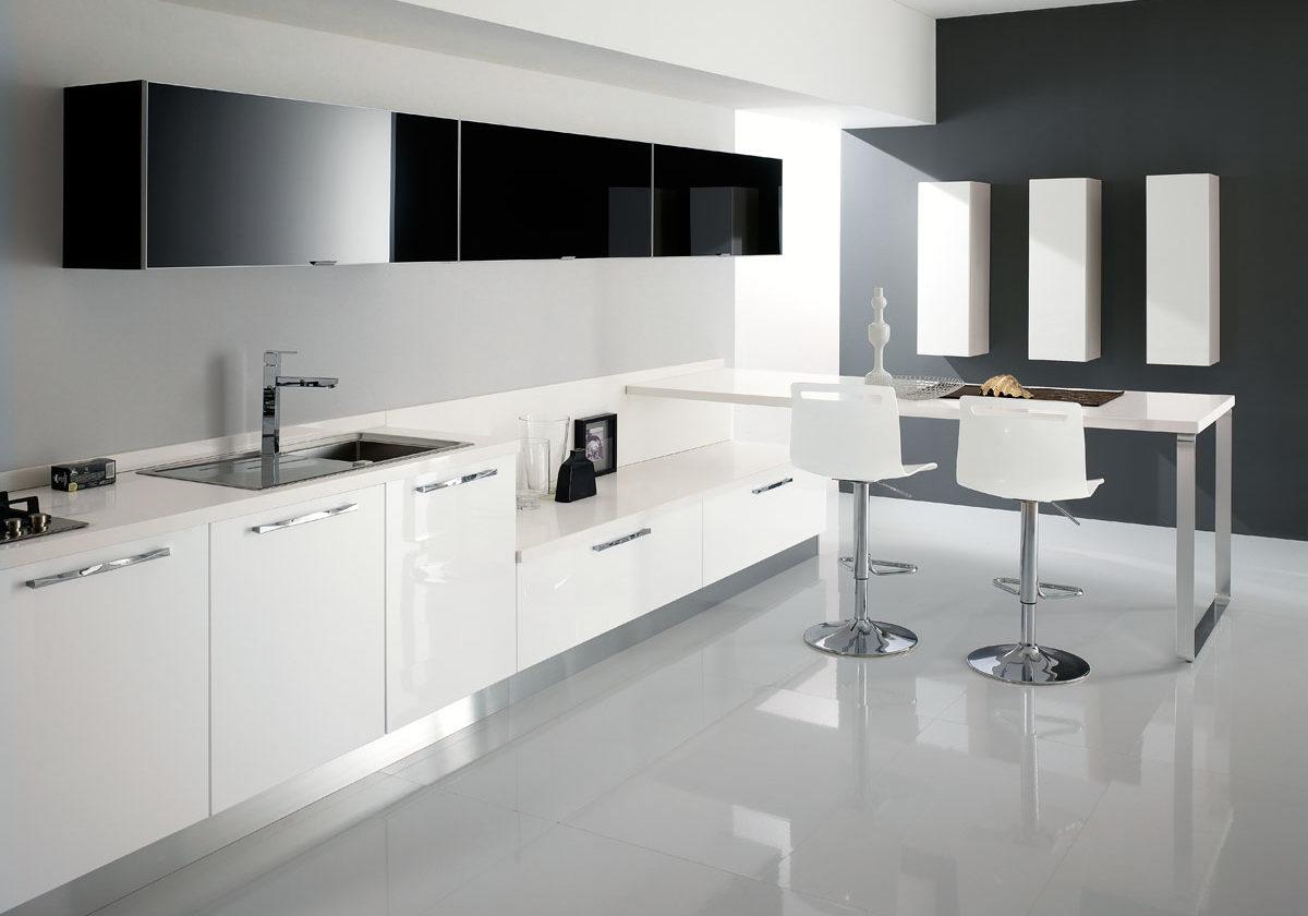 Белые кухни в стиле хай тек