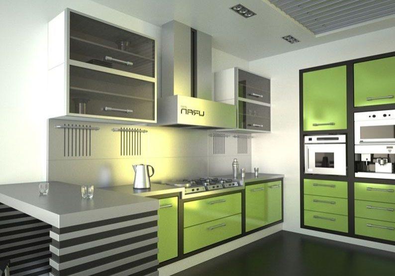 Большая кухня черно-зеленого цвета для дома
