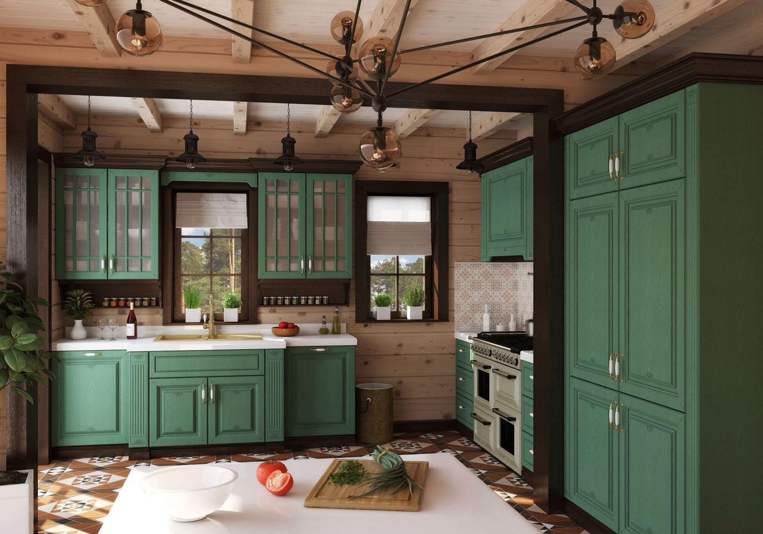 Большая кухня зеленого цвета в стиле модерн, также подходит к стилю кантри