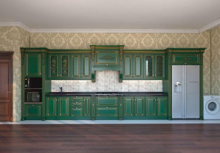 Большая, прямая, зеленая кухня с патиной золото, стиль классика