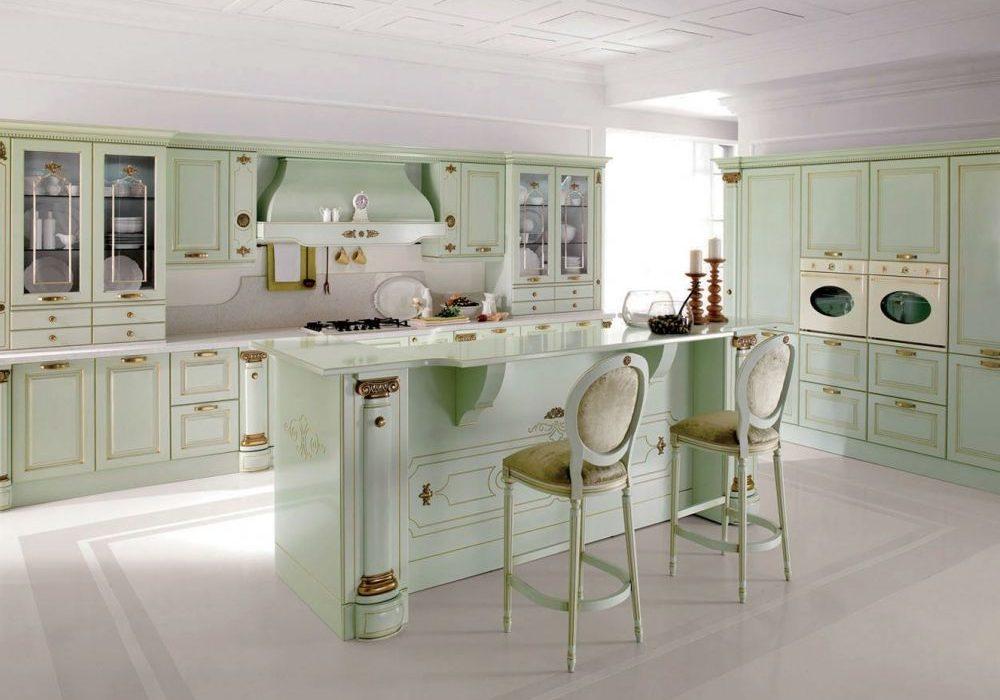 Большая светло-зеленая кухня МДФ эмаль с островом