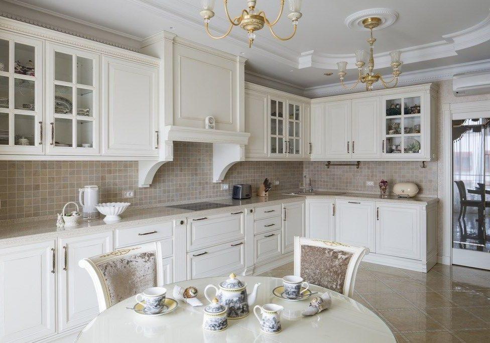 Большая угловая белая кухня, МДФ матовый, классика