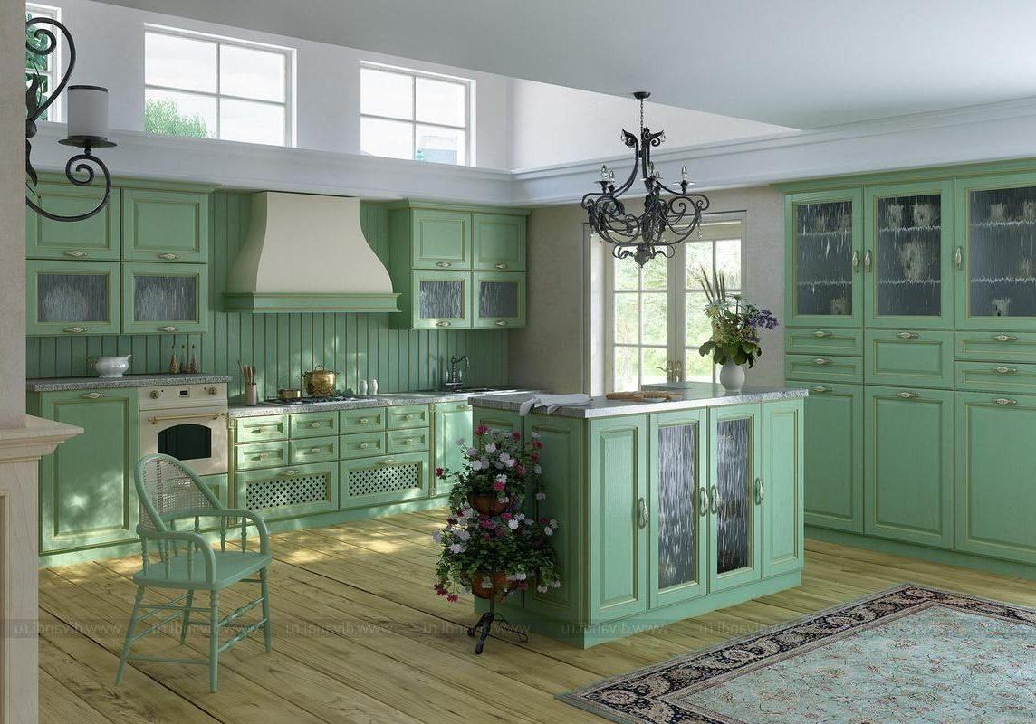 Большая угловая кухня зеленого цвета с островом, стиль прованс Отллично будет смотреться в кантри