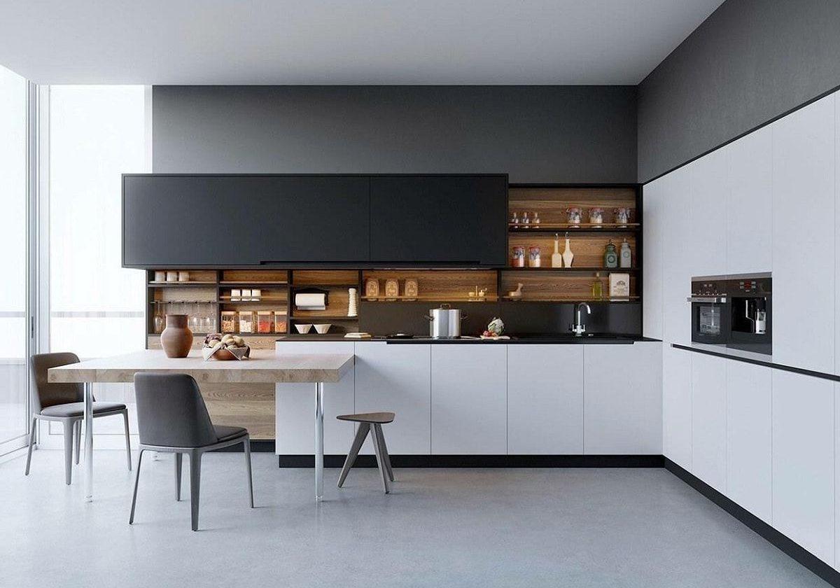 Большая угловая серо-белая кухня с деревом, матовая