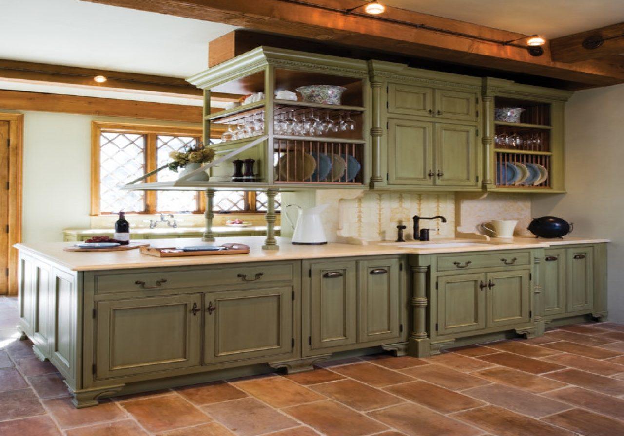 Большая зеленая кухня кантри остров