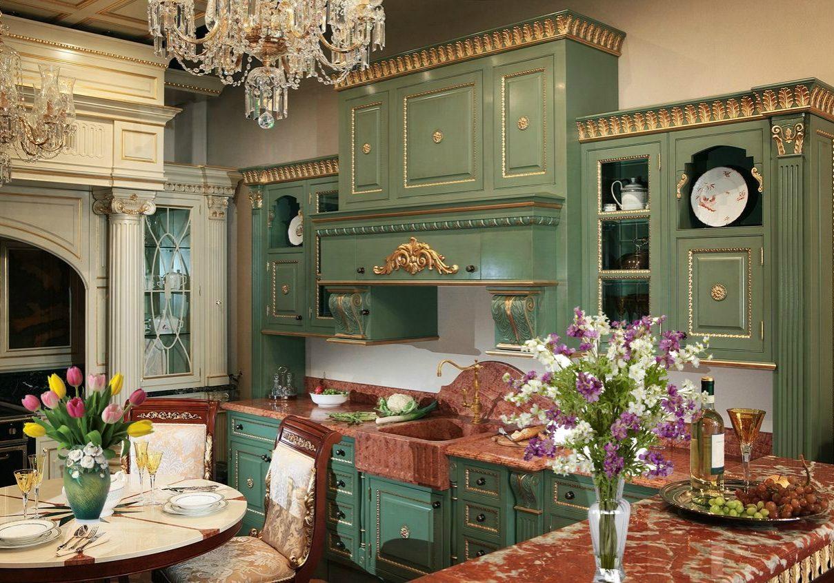 Большая зеленая кухня в стиле барокко, с хорошим дизайнером можно организовать в классику, отделка эмаль и поталь