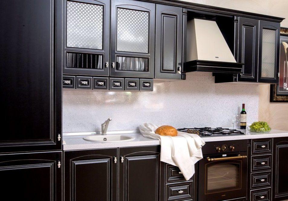 Черная кухня МДФ под эмаль