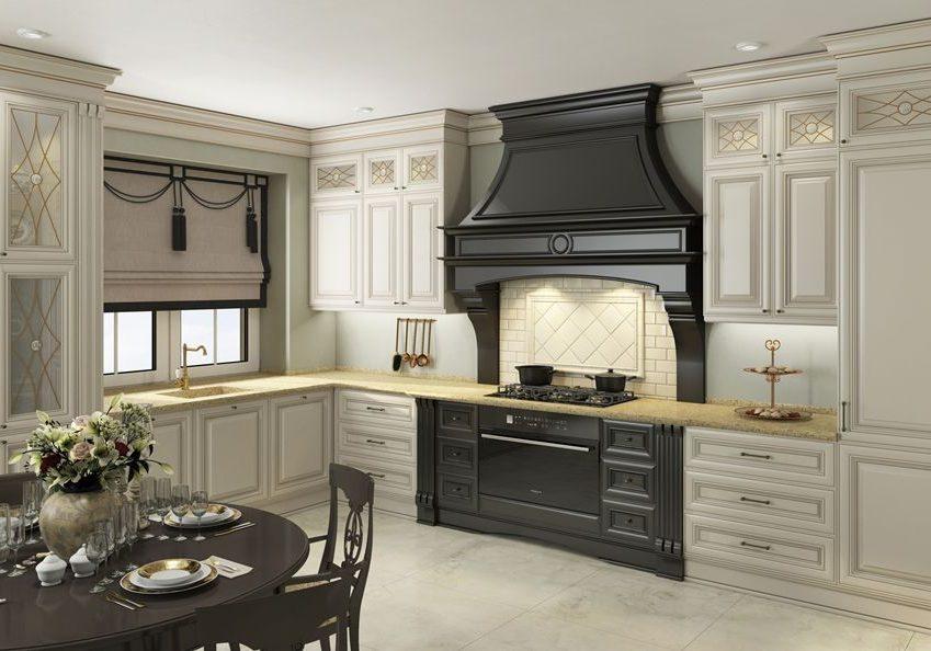 Черно-белая угловая кухня под окно, классика МДФ с патиной