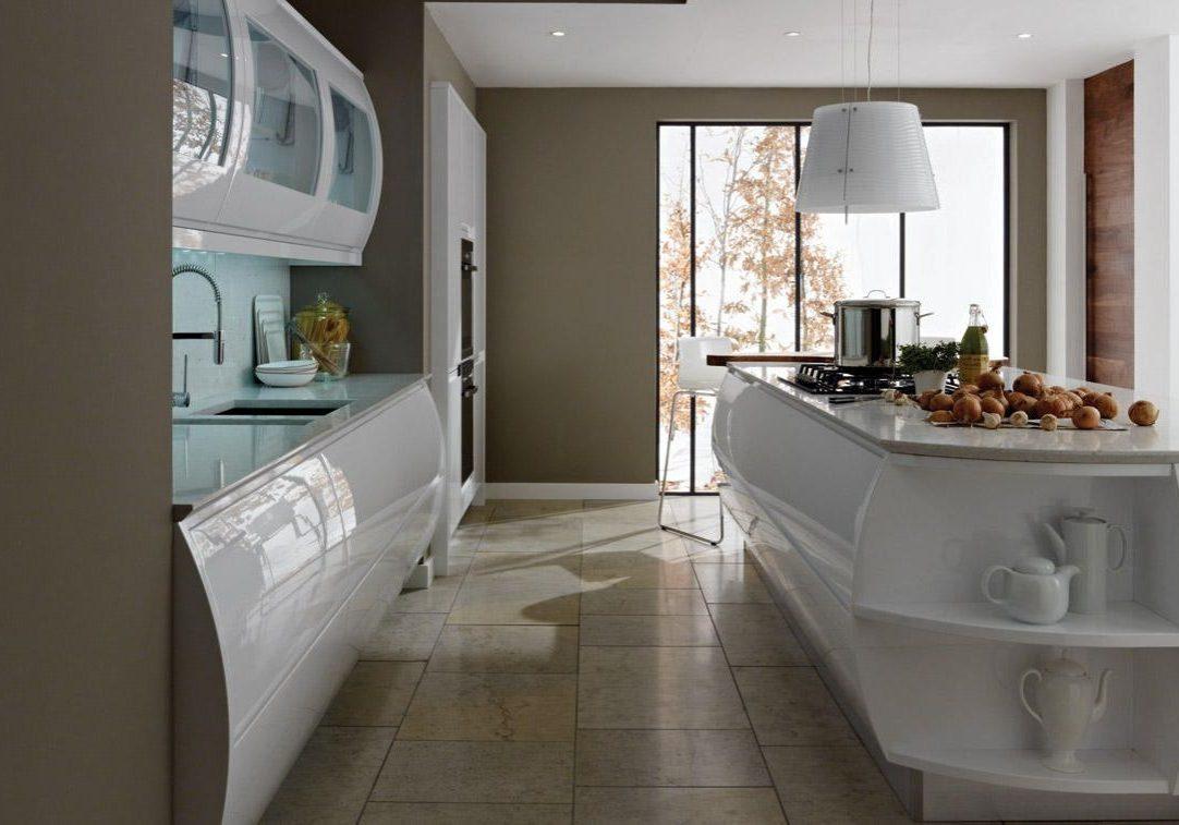Дизайн глянцевой белой кухни