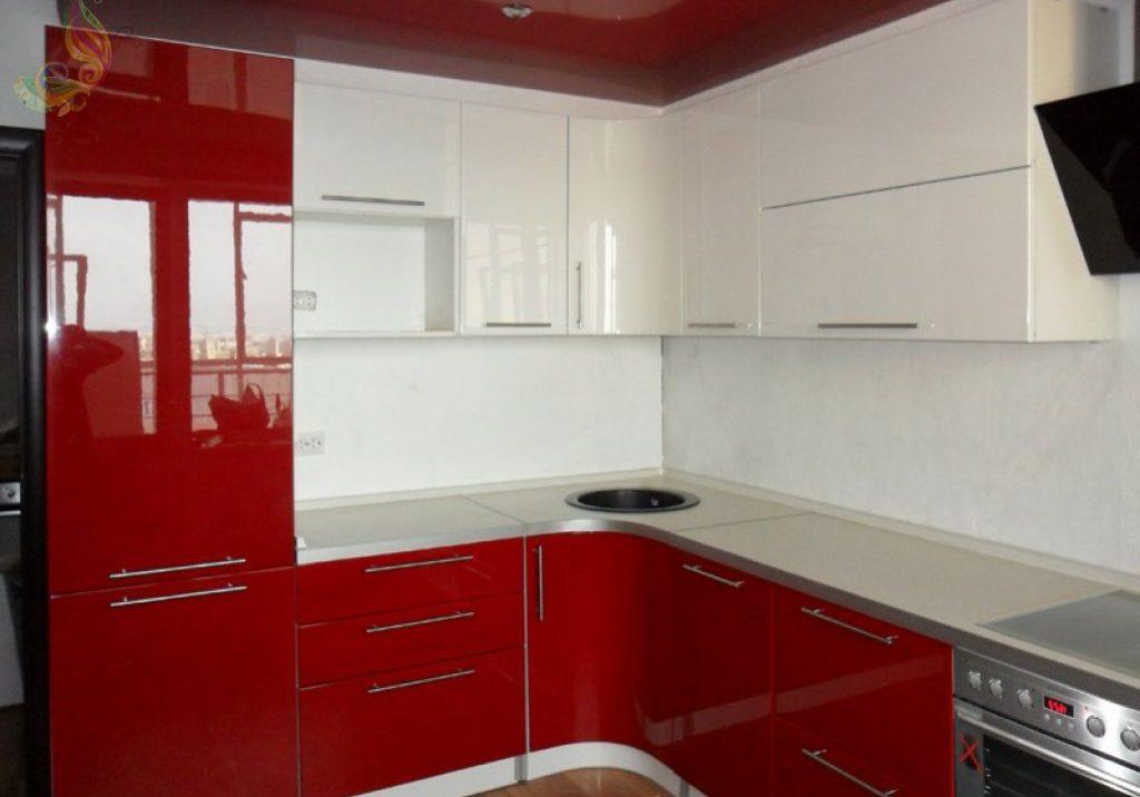 Глянцевая угловая бело-красная кухня МДФ