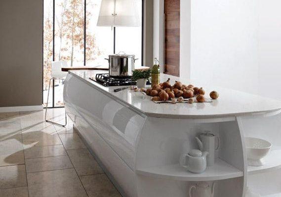 Глянцевые белые кухни, дизайн