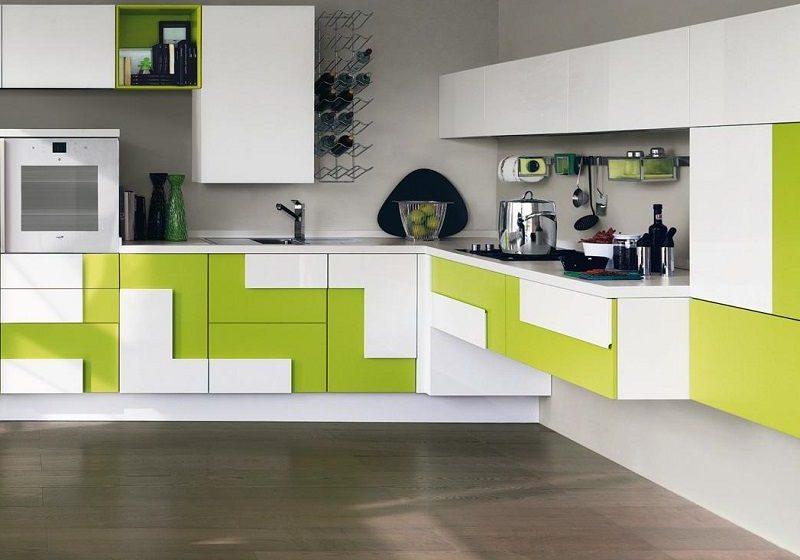 Хай тек кухня бело зеленого цвета