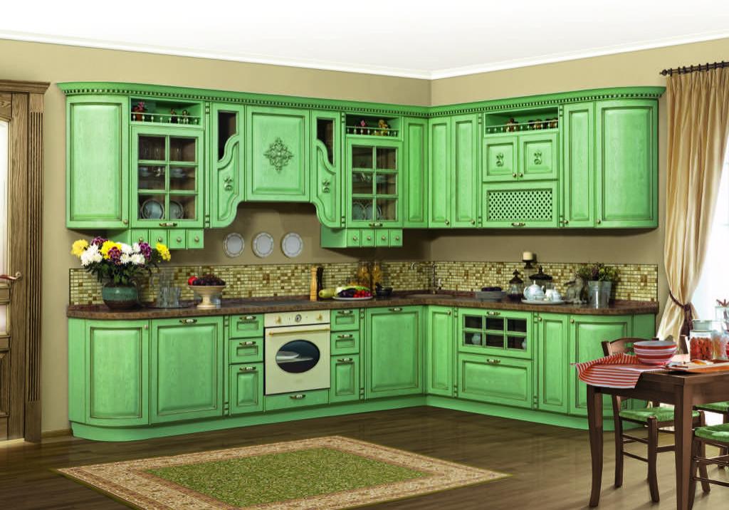 Классическая стиль зеленой угловой кухни